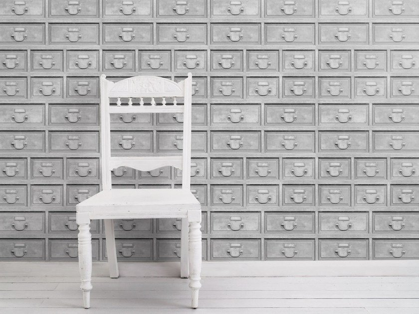 Motif wallpaper ALMOST WHITE INDUSTRIAL DRAWERS by Mineheart