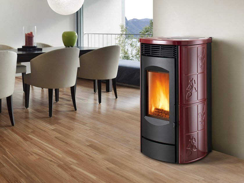 Pellet Class A+ wall-mounted faïence stove ALPINA XW | Pellet stove by CAMINETTI MONTEGRAPPA