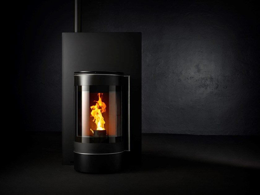 Pellet Class A+ wall-mounted steel stove ALTER EGO by CAMINETTI MONTEGRAPPA