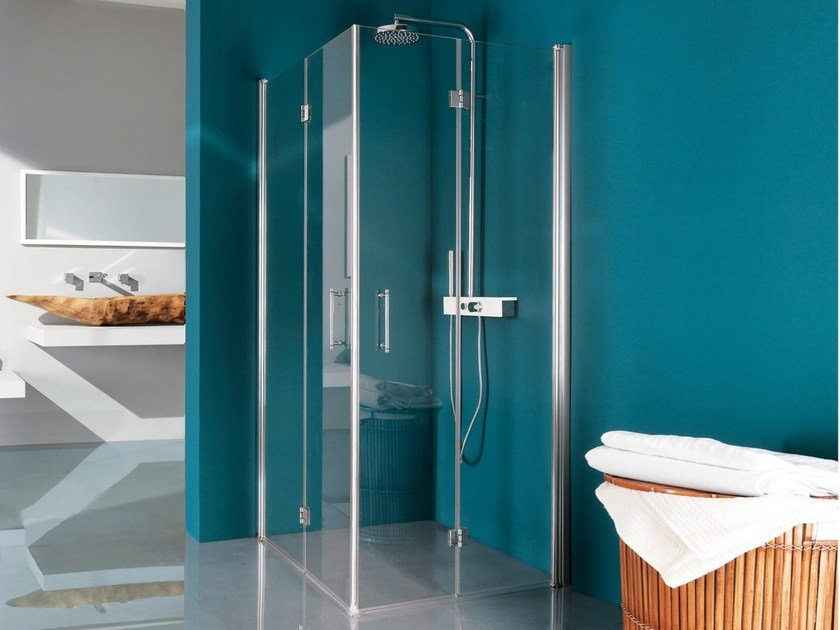 Glass shower cabin ALTER | Shower cabin with folding door by Samo