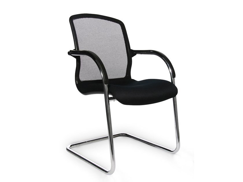 Cantilever reception chair with armrests ALUMEDIC 50 by WAGNER