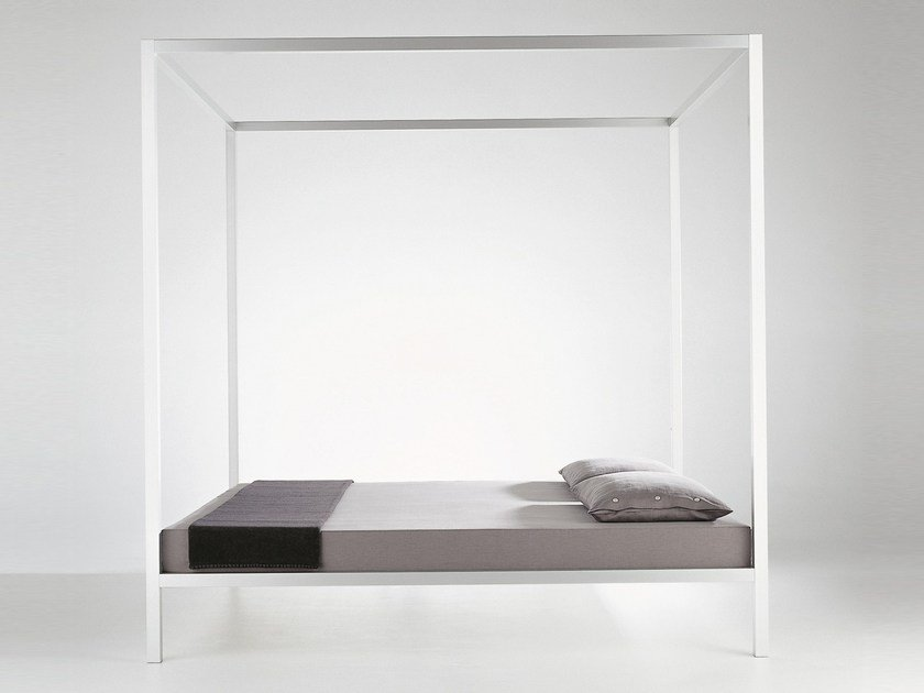 Aluminium double bed ALUMINIUM BED | Canopy bed by MDF Italia