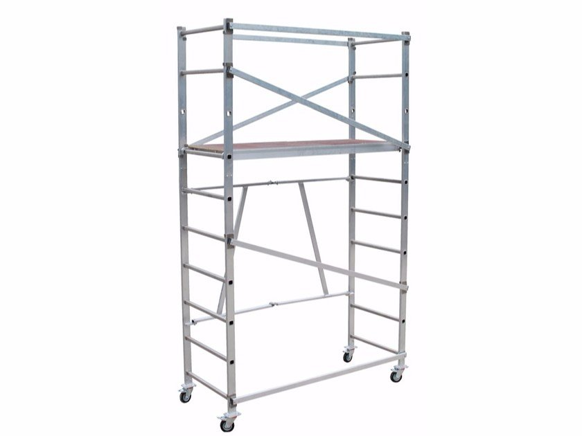 Mobile scaffolding and ladder for construction site ALUTOP by Frigerio Carpenterie