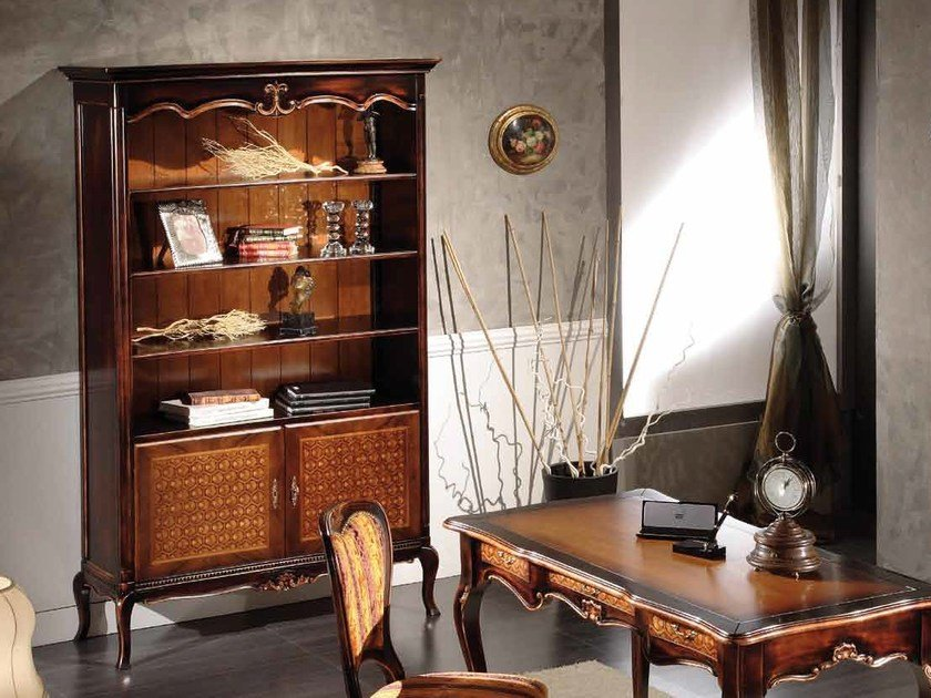 Open freestanding lacquered solid wood bookcase ALYSSA | Bookcase by Arvestyle