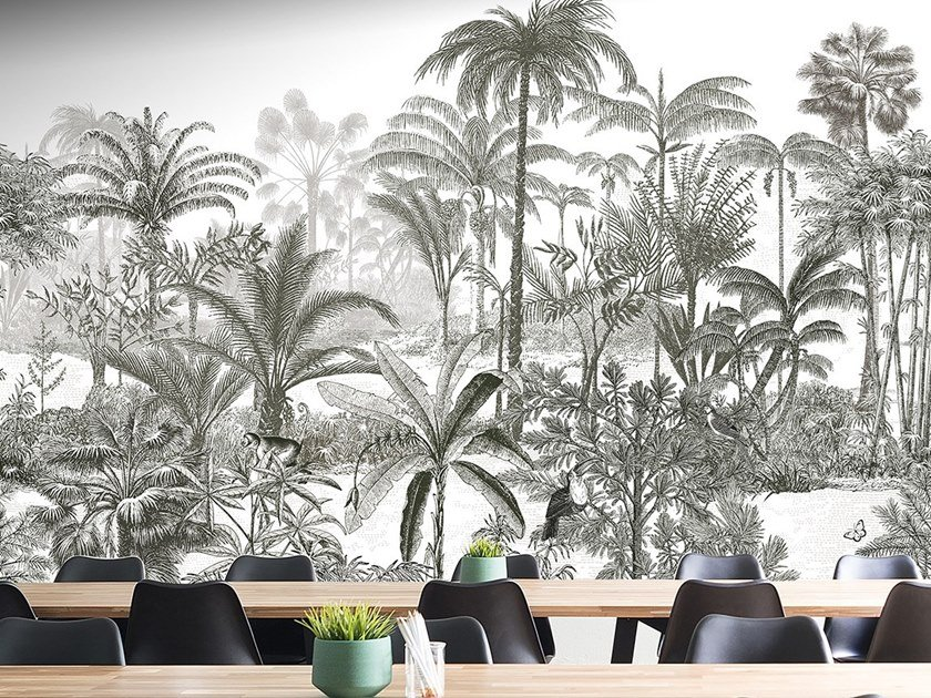 Landscape panoramic non-woven paper wallpaper AMAZONE by Isidore Leroy