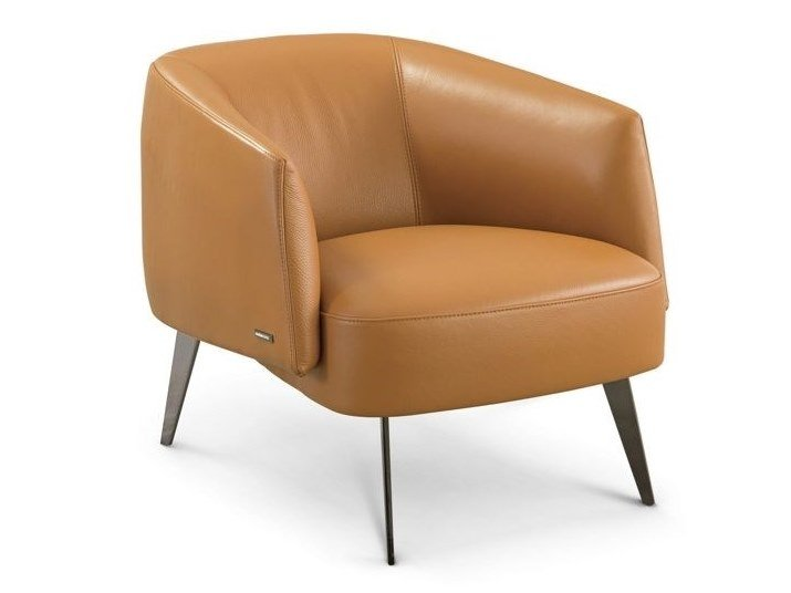 Upholstered leather easy chair AMBE by ROCHE BOBOIS