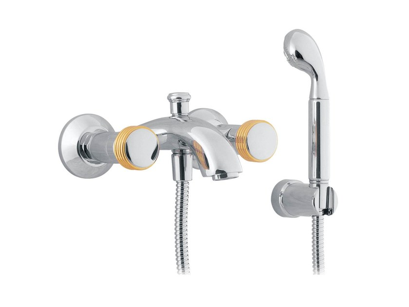 2 hole wall-mounted bathtub mixer with hand shower AMBOISE | Wall-mounted bathtub mixer by rvb