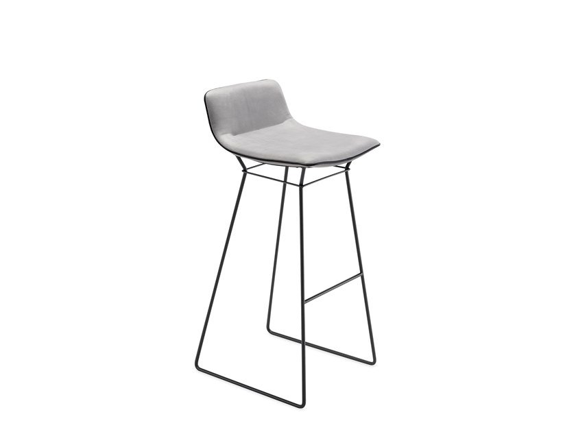 Sled base leather barstool with footrest AMELIE BARSTOOL LOW by Freifrau
