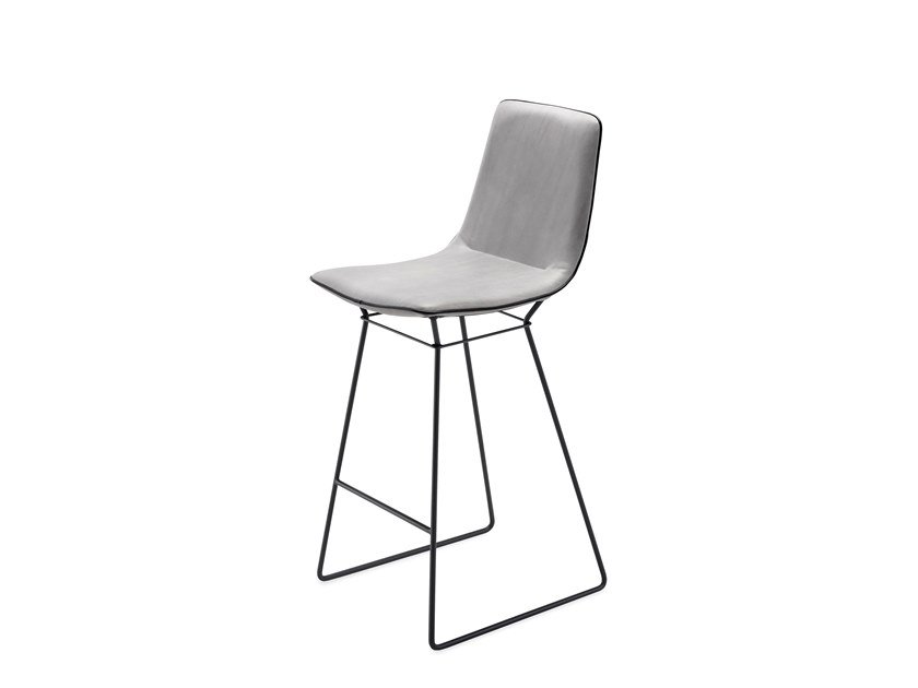Sled base leather counter stool with footrest AMELIE COUNTER STOOL HIGH by Freifrau