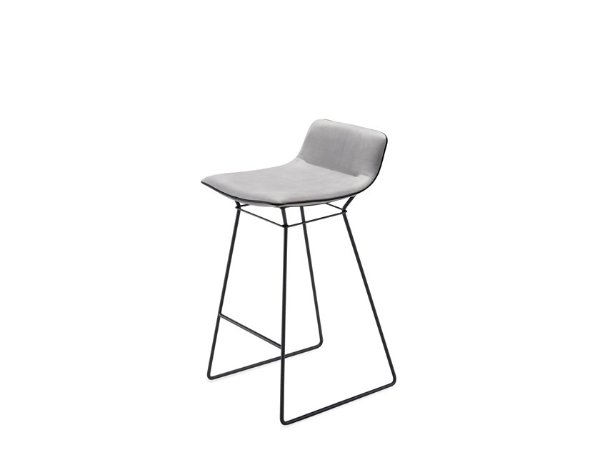 Sled base leather counter stool with footrest AMELIE COUNTER STOOL LOW by Freifrau