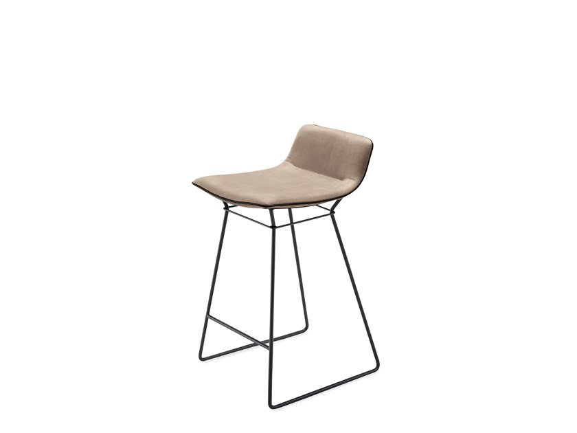 Sled base leather stool with footrest AMELIE KITCHEN STOOL LOW by Freifrau