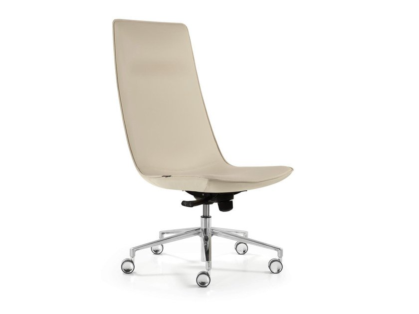 Swivel leather executive chair with 5-spoke base with casters AMELIE   Executive chair by Quinti Sedute