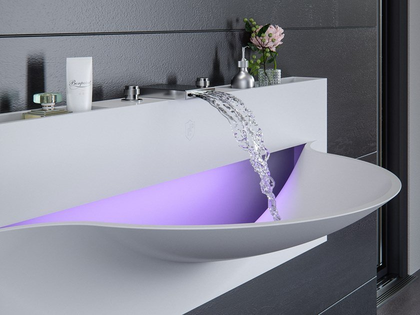 Wall-mounted Meridian Solid Surface® washbasin with light AMERIS-01 by Le Projet