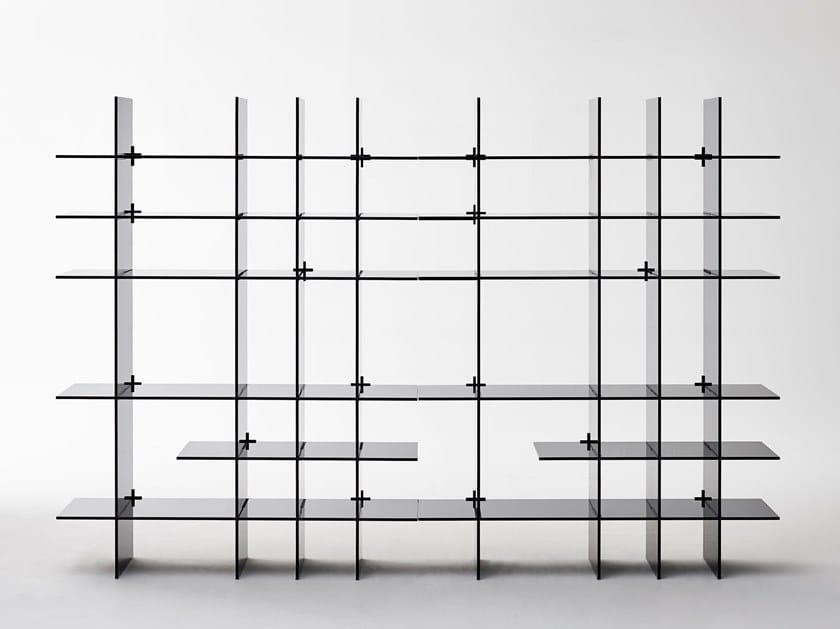 Modular crystal bookcase AMI-VERRE by Glas Italia