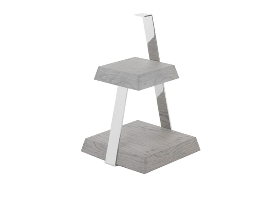 Low stainless steel side table with integrated magazine rack ANAKONDA by AZEA