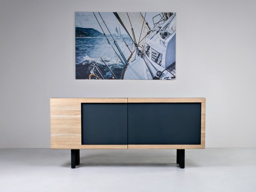 Solid wood sideboard with doors ANALOG by HOOKL und STOOL