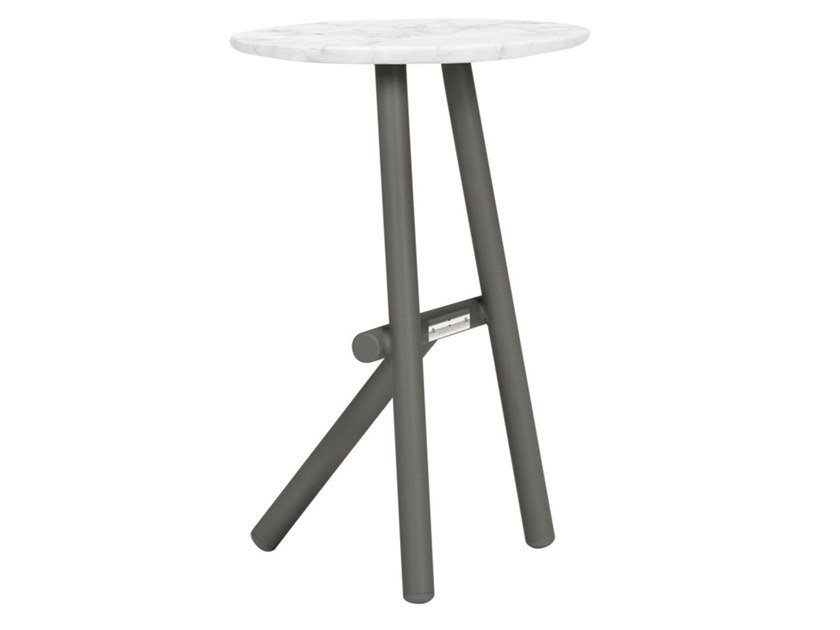 Round side table with marble or ceramic top ANATRA | Side table by JANUS et Cie