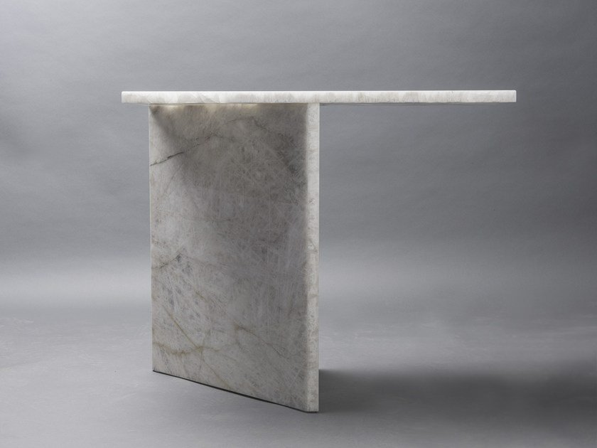 Contemporary style rectangular stone console table AND SO I STAND by CLASTE
