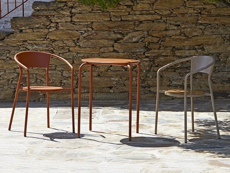 Sedia da giardino da ristorante in metallo con braccioli ANDALUZA by Adico