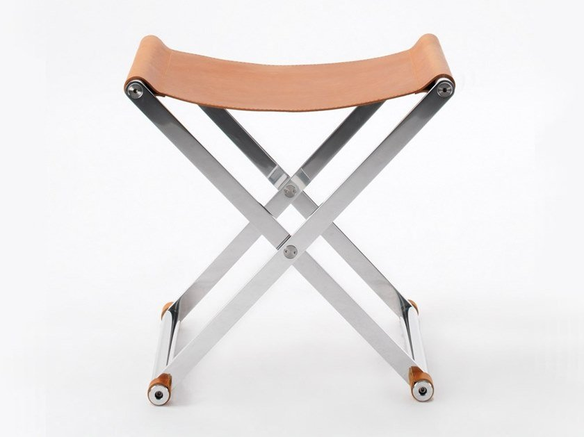 Folding leather stool ANDREA by ManifestoDesign