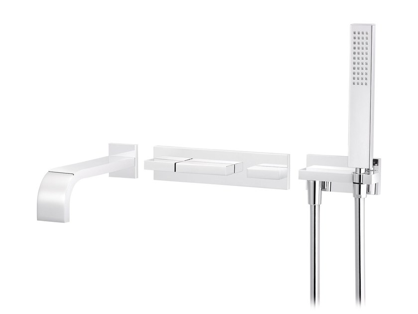 Wall-mounted thermostatic bathtub set with hand shower ANDREW | Wall-mounted bathtub set by rvb
