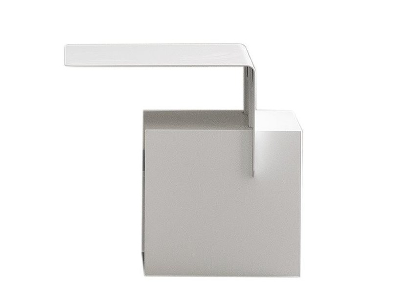 Lacquered rectangular metal bedside table ANDY by Chaarme Letti
