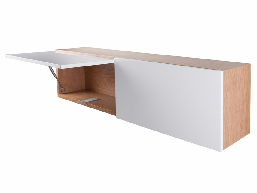 Lacquered horizontal wooden wall cabinet with door ANGEL by AZEA
