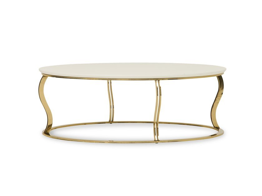 Low round coffee table in MDF and metal ANGEL | Coffee table by Enza Home