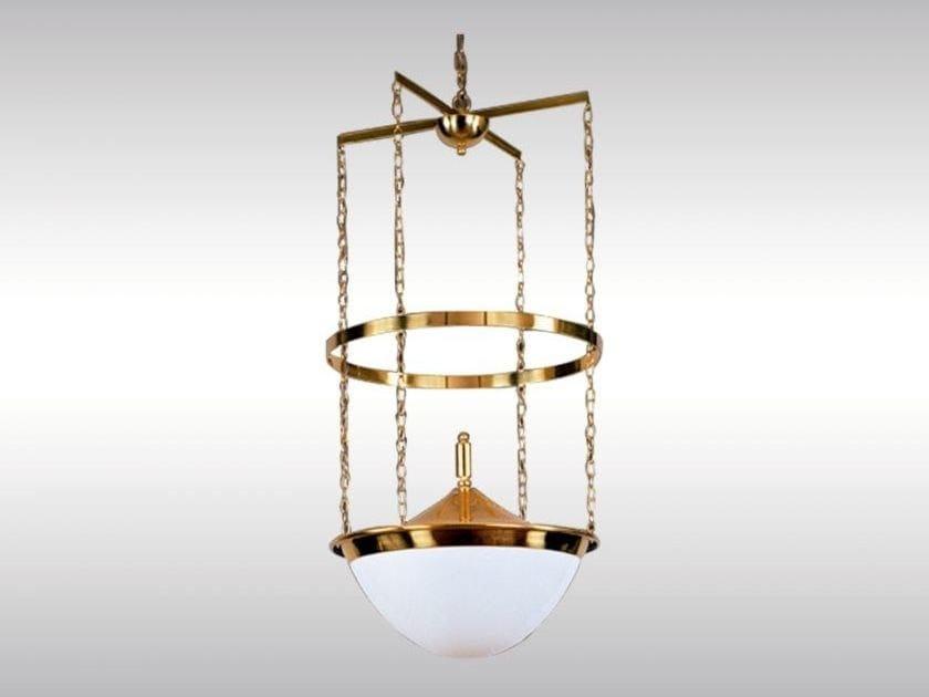 Brass pendant lamp ANGLO AUSTRIAN BANK by Woka Lamps Vienna