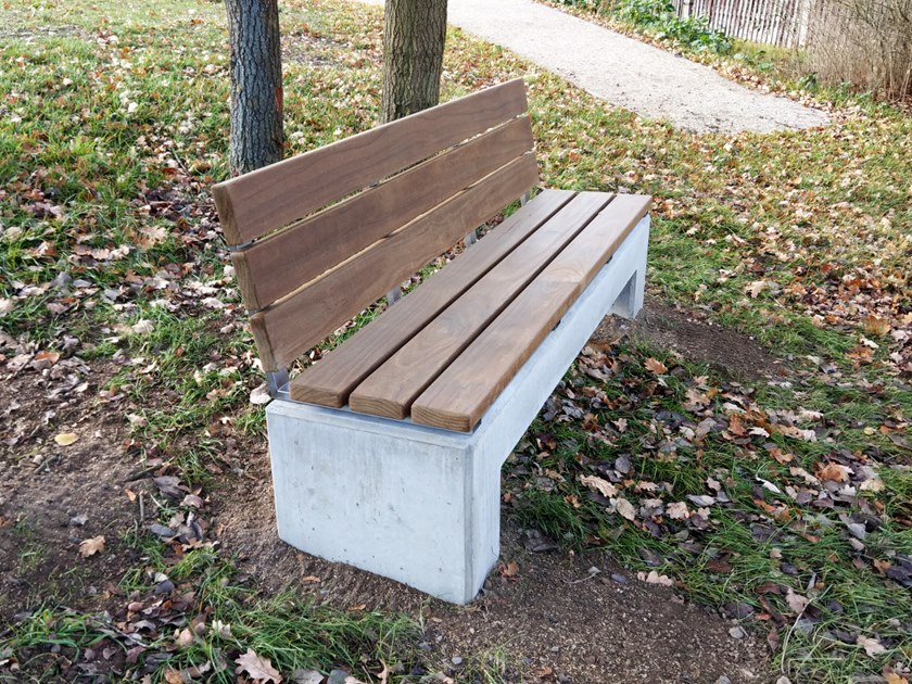 Garden bench, U-shape with backrest (3pcs.) ANGULUS SEDES 3 | Bench with back by CO33