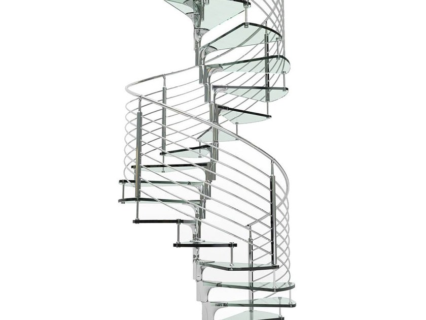 Glass and Stainless Steel Spiral staircase ANIMA by FARAONE