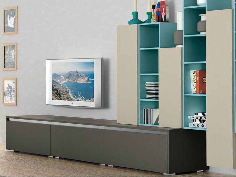 Sectional wall-mounted storage wall ANK LIVING by CREO Kitchens