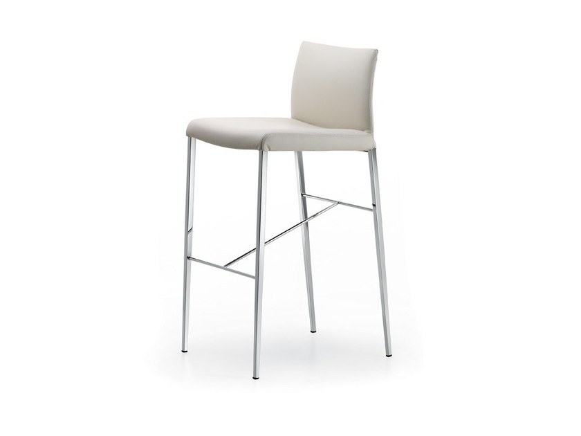 Leather counter stool with footrest ANNA by Cattelan Italia
