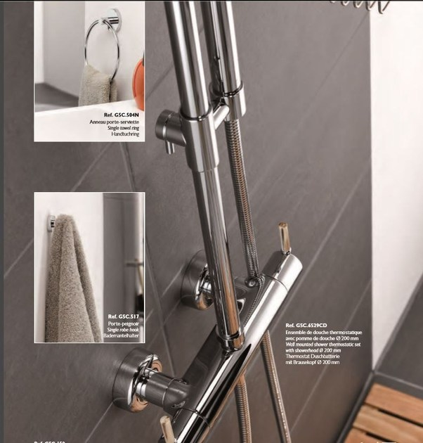 Contemporary style 2 hole steel thermostatic shower mixer with hand shower with polished finishing ANOA CORNE CLAIRE   Thermostatic shower mixer by INTERCONTACT