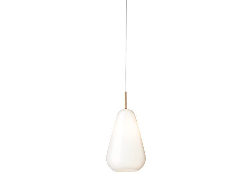 Blown glass pendant lamp ANOLI 1 MEDIUM OPAL by Nuura