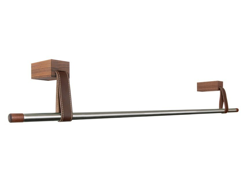Wall-mounted stainless steel and wood coat rack ANSA by designimdorf