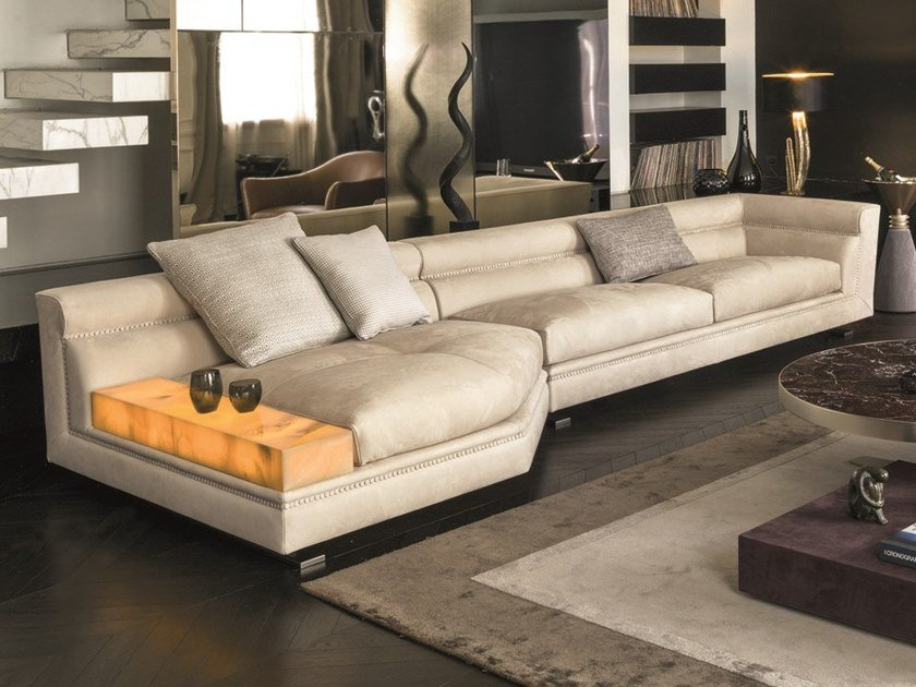 Modular leather sofa with integrated magazine rack ANSEL | Modular sofa by Longhi