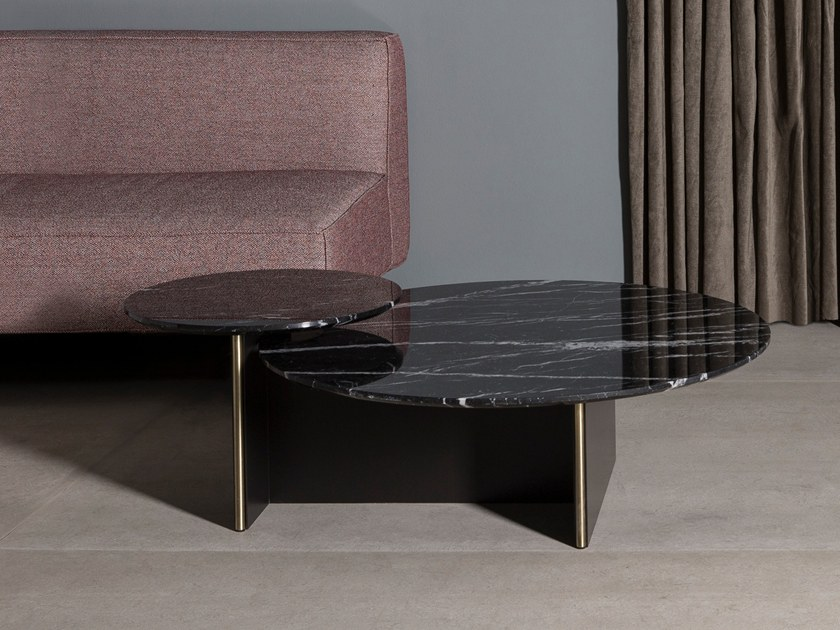 Round marble coffee table with metal base ANT by Kendo Mobiliario
