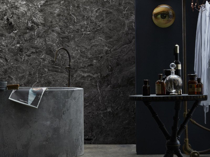 Washable panoramic wallpaper with marble effect ANTHRACITE BRECCIA ONICIATA MARBLE | Panoramic wallpaper by Koziel