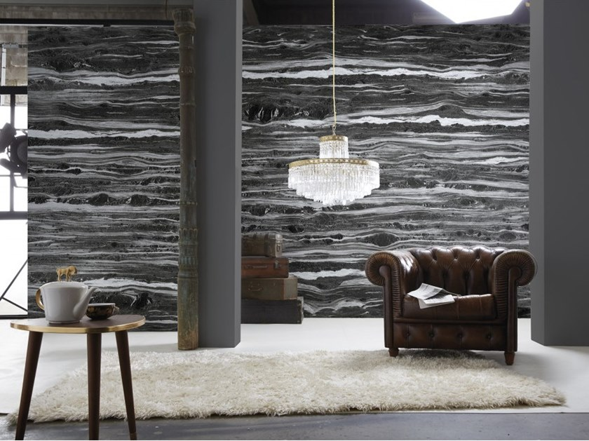 Washable panoramic wallpaper with marble effect ANTHRACITE CIPOLIN MARBLE by Koziel
