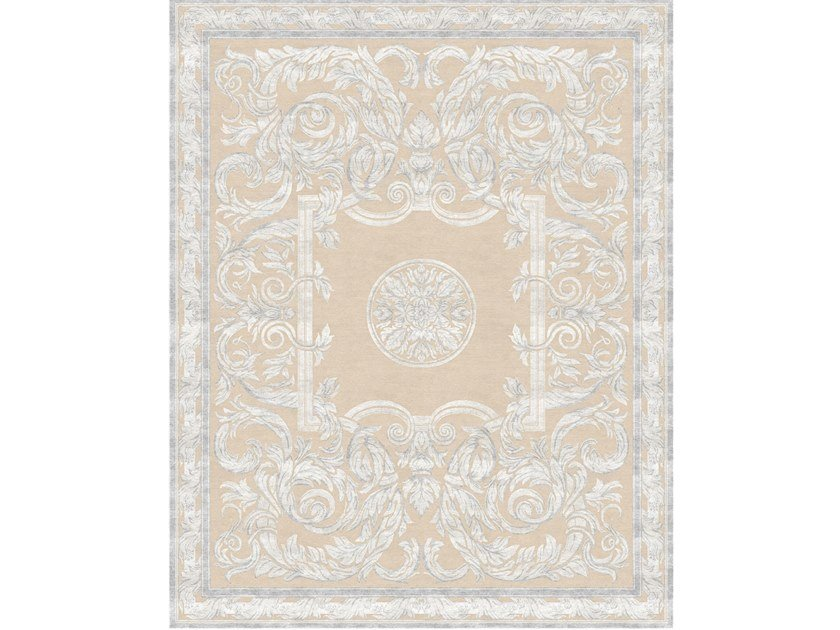 Handmade rectangular rug ANTIQUE SCROLL WHITE by Tapis Rouge