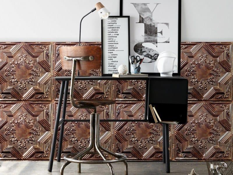 Washable vinyl wallpaper ANTIQUE TIN TILES (017) | Wallpaper by Koziel