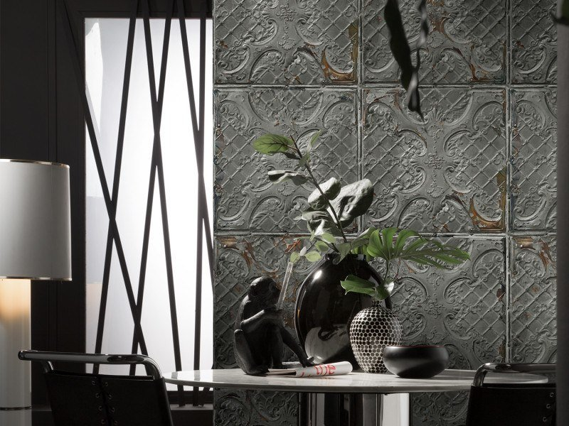 Washable vinyl wallpaper ANTIQUE TIN TILES (018) | Wallpaper by Koziel