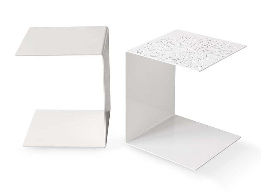 Low painted metal coffee table with integrated magazine rack ANTONIETTA by PIANCA