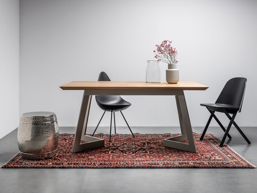 Rectangular table made of solid oak and steel ANTONIO by Hoom