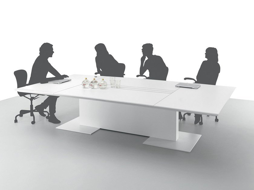 Rectangular meeting table with cable management ANYWARE | Meeting table by Martex