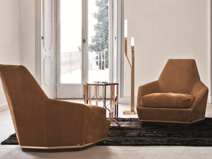 Fabric armchair with removable cover with armrests AOYAMA by Longhi