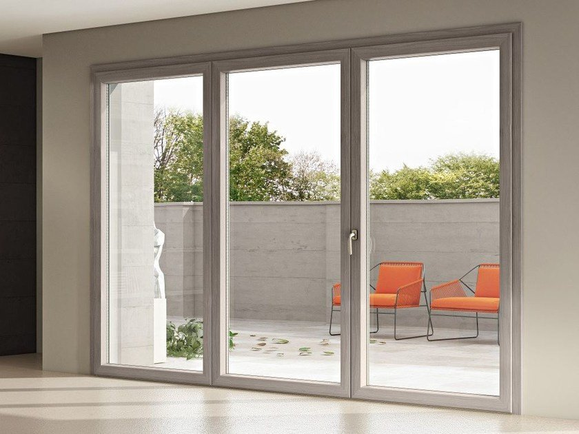 Aluminium and wood patio door APHRODITE 86 by Pail Serramenti