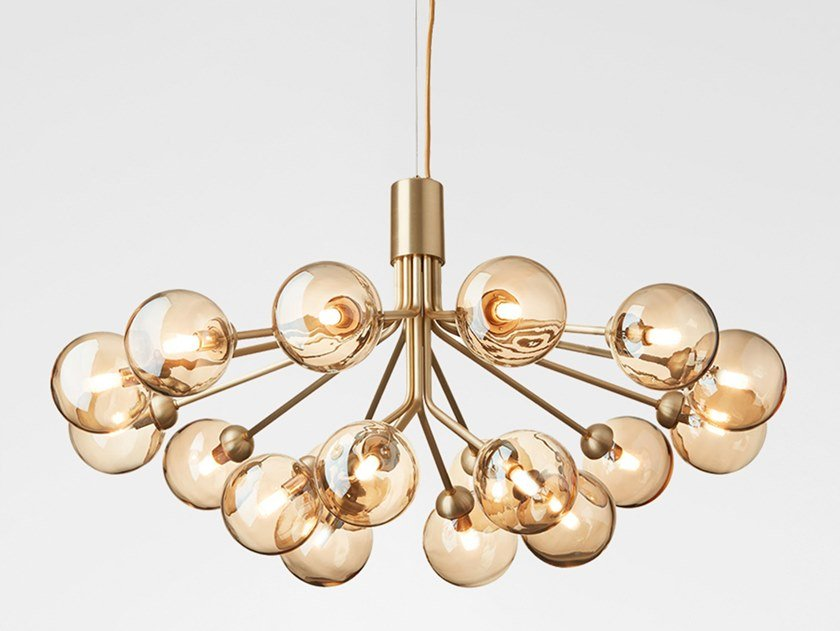 LED blown glass pendant lamp APIALES 18 BRUSHED BRASS - GOLD by Nuura