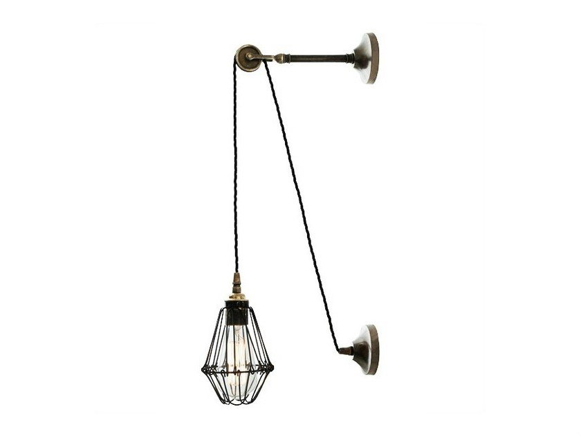 Direct light handmade wall lamp APOCH PULLEY CAGE WALL LIGHT by Mullan Lighting